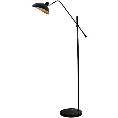 Zzh Stehlampe LED Höhenverstellbar Stehleuchte Moderne Marmorfuß mit Fußschalter am Kabel Standleuchte fur Wohnzimme und Schlafzimmer, Leseleuchte Bodenlampe - Schwarz