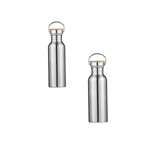 sharprepublic Botella de Agua de Acero Inoxidable para Beber con Tapa de Bambú Deportiva 600 Y 750 ML