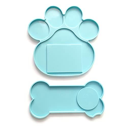 6Wcveuebuc Memorial Pet Sepulcral molde perro hueso forma de pata epoxi resina fundición moldes de silicona marco foto vela titular DIY fabricación