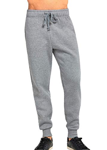 JMR Men's Fleece Sweat Pants, Elastic Waistband with Drawstring, Cuffed Bottom Sweatpants with Side Pockets (Large, Heather Grey)