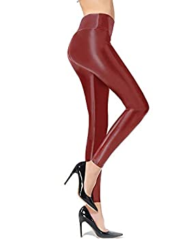 Ginasy Red Faux Leather Leggings for Women High Waisted Stretch Leather Pants with Fleece Lined