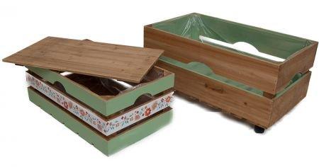 Lot de 2 boîtes de rangement en bois avec plantes d'écran vert Panier en bois Panier décoratif en bois boîte avec couvercle Tann Boîte en bois Boîte de rangement