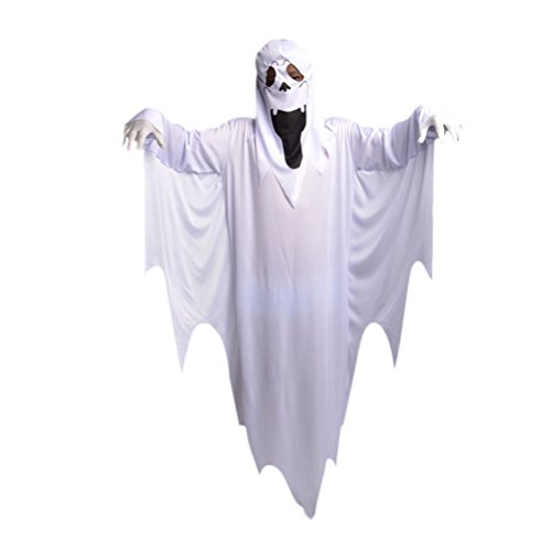 Fenical Halloween Ghost Cosplay Kostüm Funky Kostüme Maskerade Umhang White Ghost Kostüm Anzug für Kinder (Ghost Kostüm + Handschuhe)