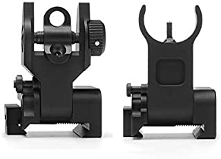 SOUFORCE Premium Flip Up Mil Spec Iron Sights Front and Rear Sight Mounts Set, Low Profile Standard / 45 Degree Offset Backup Iron Sights for Picatinny Weaver Rail