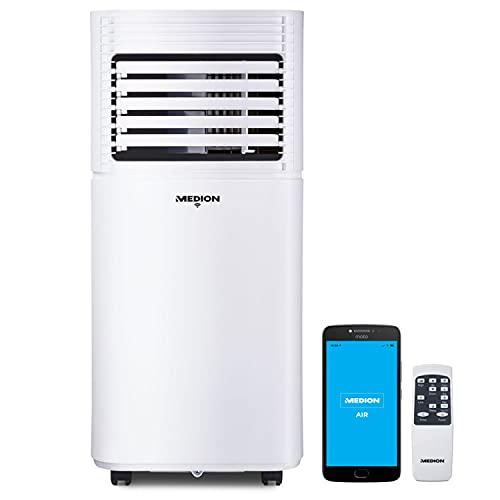 MEDION smarte mobile Klimaanlage mit Abluftschlauch (leise, 3in1, Klimagerät, App Steuerung, Kühlen Entfeuchten Ventilieren, Staubfilter, geeignet für bis zu 25qm, 7000BTU, MD37215)