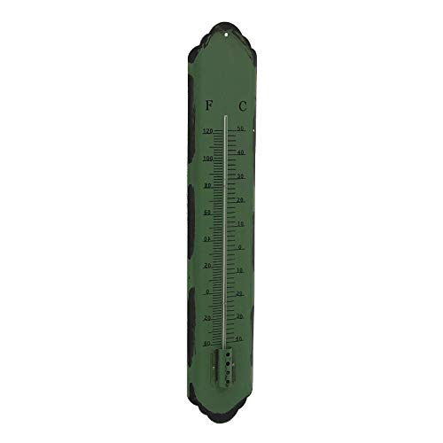 L'ORIGINALE DECO Grand Thermomètre Murale de Jardin en Métal Vert 61 cm