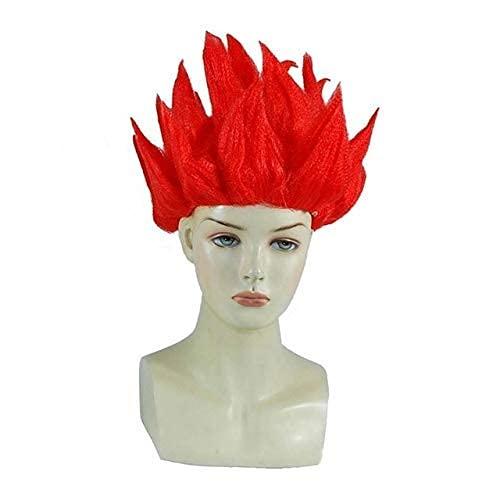 Chtom Goku cosplay pelucas dragones bolas súper saiyan azul rojo negro amarillo goku peluca anime hombres adulto mujeres pelo cosplay peluca rojo (Color : Red)