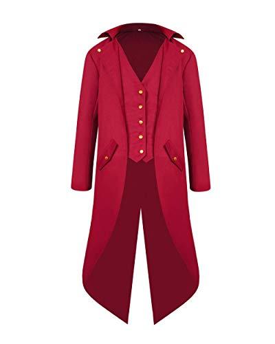 VERNASSA Hombres Steampunk Retro Chaqueta, Gótico Vintage Victorian Coat,Abrigo Renacentista Medieval Tailcoat para Halloween Christmas Cosplay Party Carnival Festival