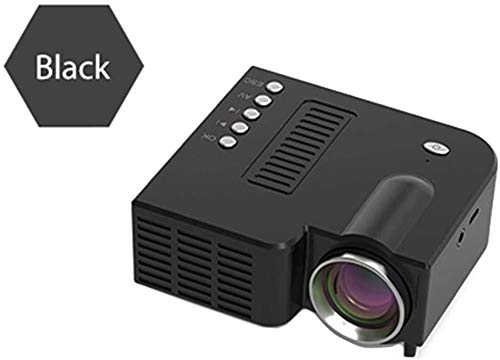 Mini Movie Projector HD Portable Mini Projector Ondersteuning PC Laptop VGA/USB/SD/AV/HDMI-ingang Projector, ideaal for home theater dljyy (Color : Black)