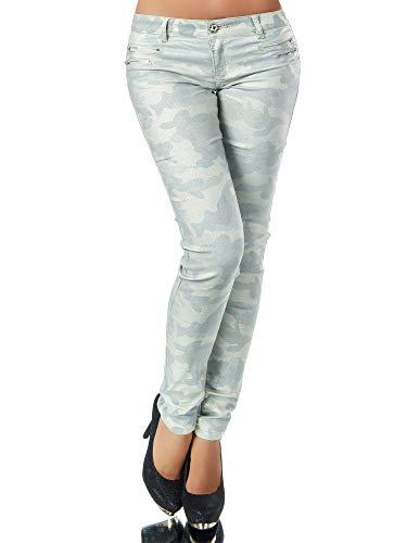 Damen Jeans Hose Hüfthose Damenjeans Hüftjeans Röhrenjeans Leder-Optik L521, Farbe: Camouflage-Hellgrün, Größe: 42 (XL)