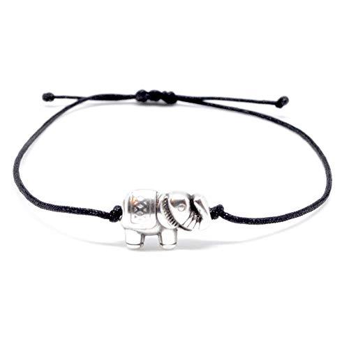 Armband Elefant Silber auf schwarzem Band handmade Armbändchen Selfmade Jewelry ® Größenverstellbares Armkettchen Damen Mädchen Frauen