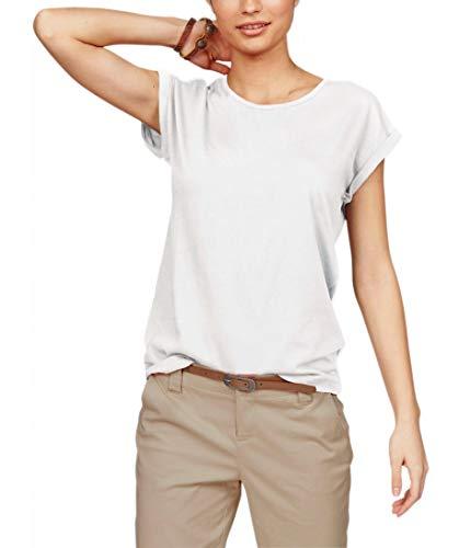 TrendiMax Damen T-Shirt Einfarbig Rundhals Kurzarm Sommer Shirt Locker Oberteile Basic Tops (Weiß, S)