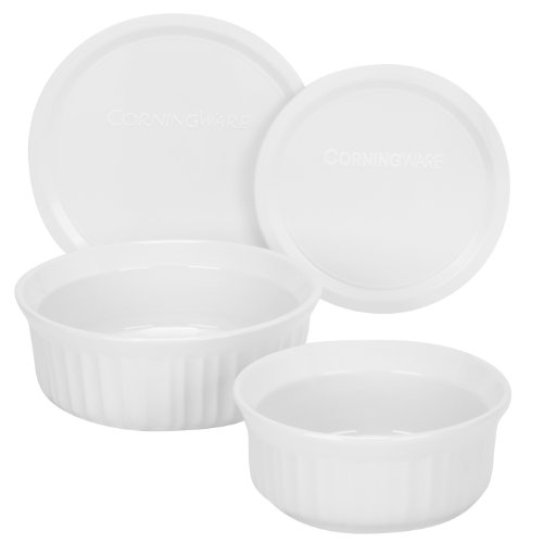 Corningware French White 4-Piece Round Mini Value Pack, Includes 16-Ounce Round Dish