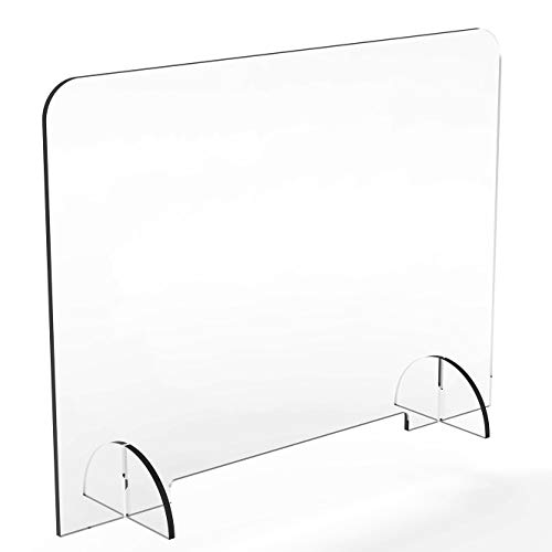 """Plastic Sneeze Guard for Counter and Desk – Quality American 1/4 inch Thick Acrylic– with Small Opening - 1.5' Tall Opening (36' Wide x 24' Tall 1/4"""" Thick)"""