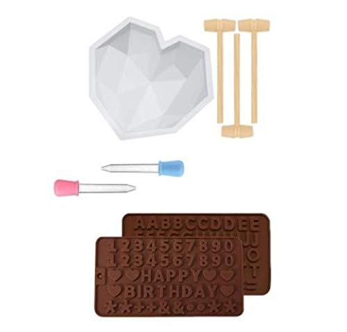 Silicone Diamond Heart Cake Mould Mousse Cake Mold Trays Chocolate Baking Molds with Mini Wooden Hammers and Droppers Non-Sticky Candy Making Supplies for Valentine´s Day Wedding (White, C-Packing)