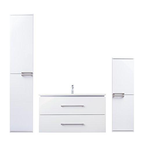 ZLATA badrumsmöbler set 3 delar med tvättställsskåp, keramiskt tvättställ och midiskåp | mått (tvättplat): 65 cm x 55 cm x 45 cm (B x H x D) | Märke JUVENTA * Serie ZLATA | Högkvalitativt keramiskt handfat | Möbel med utmärkt högglans lackering i vit