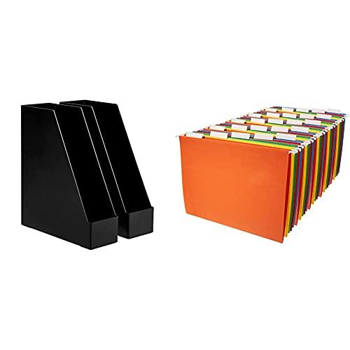 Amazon Basics Plastic Desk Organizer - Magazine Rack, Black, 2-Pack & Hanging Organizer File Folders - Letter Size, Assorted Colors, 25-Pack