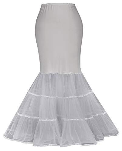 Grace Karin Petticoat - Falda Larga para Mujer Rockabilly Pin Up de Tul Sirena, Boda, Falda bajo Vestido CL10477GF Gris#cl477 L