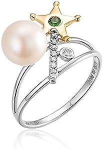 AnazoZ 18K Oro + 18K Oro Blanco Anillos de Mujer Oro y Oro Blanco Anillos Estrella con Perla Blanca Verde 0.04ct Talla 21