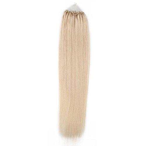 Beauty7-50 Stücke Echthaar Haarverlängerung Microring Haarsträhnen Remy Haar Loop Micro Ring Microring Haareverdichtung Echthaar Extensions Hair Extensions 1g/Strähnen 24 Zoll 60cm 60# Weissgold