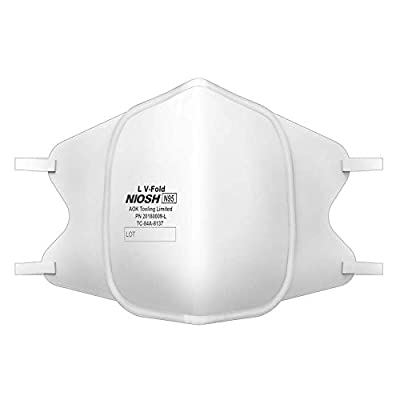 MAGID N95 Respirator Masks with Metal Nose Clip & Latex-Free Elastic Headband, Triple Layer Construction, Foldable (Large) Model LV FOLD (20180009-L) - 10 Respirators by AOK Tools Limited