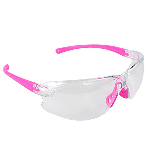 BHTOP Safety Glasses Protective Eye Wear 011 Clear Lens Anti-Fog Goggles Scratch Resistant Wrap-Around Lenses and No-Slip Grips UV Protection In Pink
