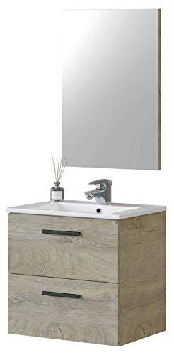 Miroytengo Mueble baño Aruba Color Roble Alaska 2 cajones y Espejo Estilo Industrial 60x45 cm con Lavabo CERÁMICO