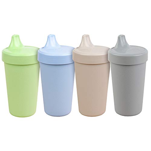 Re- Play Made in USA 4pk - 10 oz. No Spill Sippy Cups in Ice Blue,Leaf,Sand,Grey | Eco Friendly Heavyweight Recycled Milk Jugs and Silicone - Virtually Indestructible | Naturals Collection (ECO)