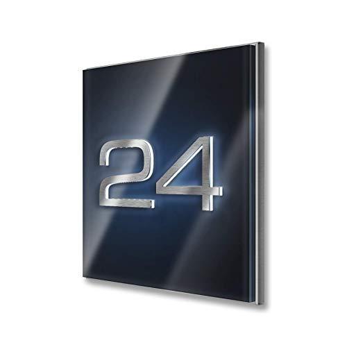 Metzler Hausnummer in Anthrazit - aus Edelstahl massiv & nicht rostend - LED-beleuchtet - alle Zahlen möglich - individuelle Anpassung - direkt vom Hersteller - (20 x 20 x 1,5 cm)