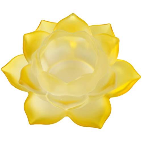 Porte-Bougie Jaune Lotus en verre