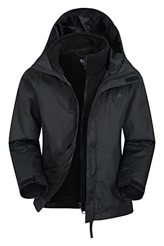 Mountain Warehouse Fell Kids 3 in 1 Jacket - Water Resistant Triclimate Rain Jacket, Detachable Inner Jacket, Packaway Hood Kids Coat, for Winter Walking, Hiking Black 13 Years