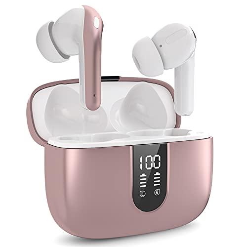 RMAI Cuffie Bluetooth 5.0 Senza Fili In Ear, Auricolari Wireless con Stereo Hi-Fi 40 Ore, Cuffie Wireless Sport IPX7 con Microfono, Auricolari Bluetooth Controllo Touch con Custodia da Ricarica Rosa