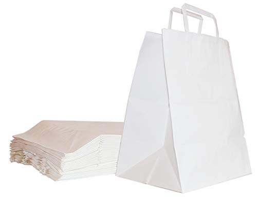 FLORIO CARTA 25 Shopper Delivery o Take Away in Carta Kraft da 90 gr. Colore Bianco | Manico in Carta | Dimensioni 26x16x29 cm | Sopporta Un Peso Fino ad Un Max. di 3Kg