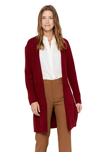 State Cashmere Mid-Length 100% Pure Cashmere Open Cardigan Long Sleeve Sweater for Women (Burgundy, Medium)