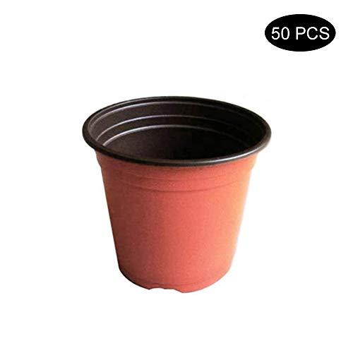 Esoes - Bandejas redondas de plástico suave de dos tonos de terracota para plantas, jarrones de flores para guardería, bandeja para semillas, ideal para jardinero (9 cm)