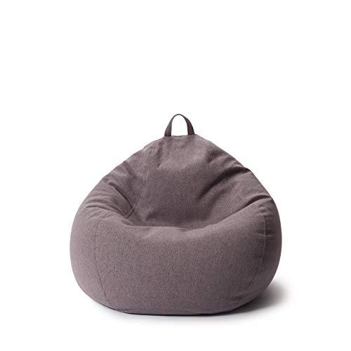 Lumaland Comfort Line Sitzsack M Indoor - 70x80x50 cm - Bodenkissen, Bean Bag Chair - 120 L - EPS Perlen Füllung - Dunkelgrau