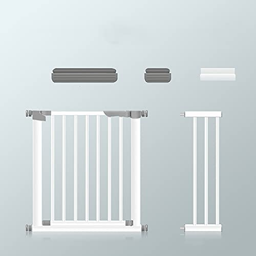 Baby Safety Gate, Metal Safety Gate Guardrail Extension Baby Pet Safety Gate Auto-Close, Pressure Fit Stair Gates, Ideal for Kids and Pets, White(Size:97-104cm)