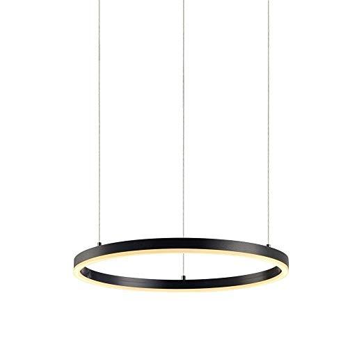 Ring LED Pendelleuchte Hängeleuchte 3000-6000K mit Fernbedienung Esstischlampe Wohnzimmerlampe Schwarz Ringleuchte Hängelampe Modern Einfaches Pendellampe Acryl Ringlampe, 60cm