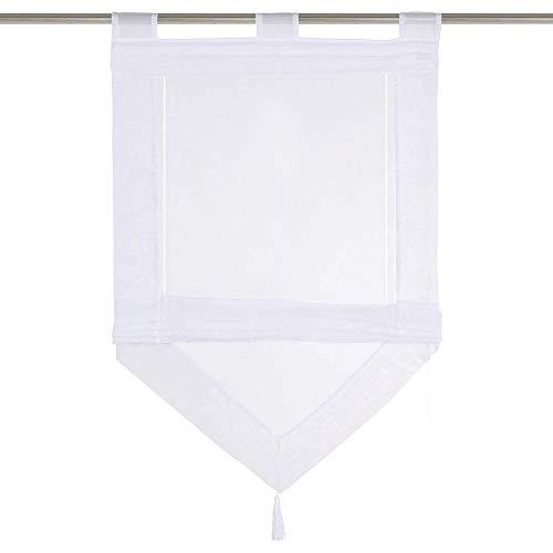 LiYa Raffrollo mit Quaste Dreieck Raffgardine Voile Transparent Schlaufen Vorhang (BxH 60x140cm, Weiß)