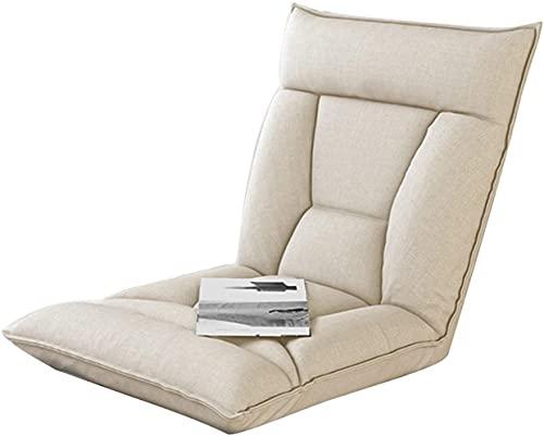 JJSFJH Silla Lazy Sofa Lounge con, cómodo Soporte Lumbar con Cubierta de reemplazo Sillón de sofá Cama Individual, Silla reclinable de 5 ángulos para Lectura de Sala de Estar (Color : Creamy-White)
