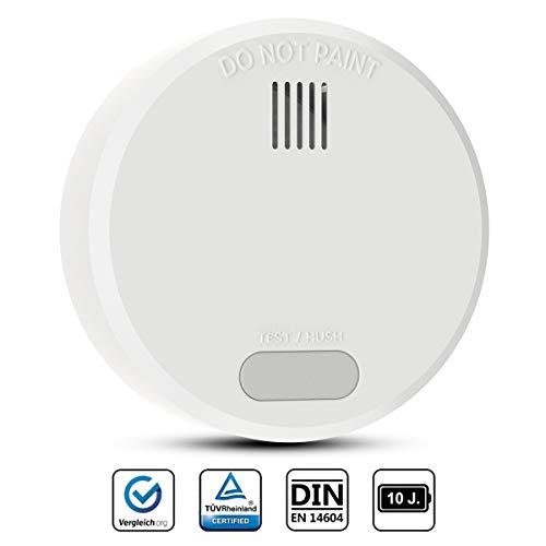 Rauchwarnmelder mit 10 Jahren Batterielaufzeit,TÜV Zertifiziert und DIN EN 14604 geprüfter,Feuermelder fotoelektrischem Sensor,mit Klebebefestigung