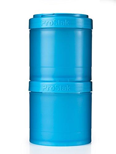 BlenderBottle ProStak Twist n' Lock Storage Jars Expansion 2-Pak with Pill Tray, Aqua
