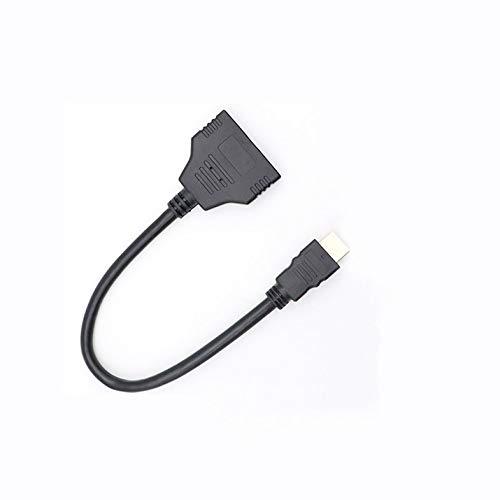 1080p Splitter Cable 1 Macho a 2 Hembra Splitter Cable Adaptador convertidor para Reproductores de DVD HDTV Stb y la mayoría de los proyectores LCD - Negro