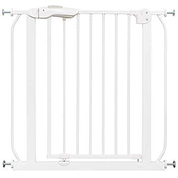 ib style® Mika barrière de sécurité Disponible juqu'à 265cm | Barrière pour Animaux | sans perçage | Auto-Close| 90° Stop | Blanc | 125-135 cm