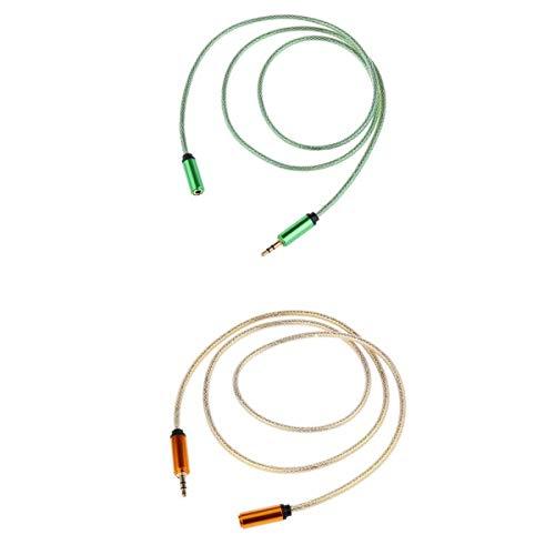 Gazechimp 2PCS Cable de Extensión de Auriculares de Audio Esté Macho a Hembra Cable 1M