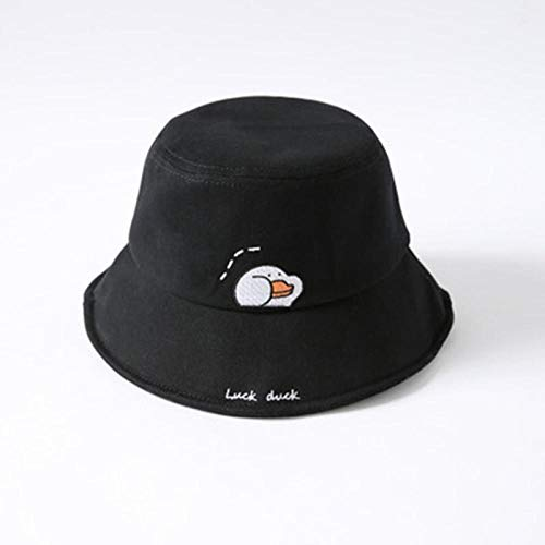 Fisherman's Hat Hat Female Soft Sister Small Fresh Dome Fisherman Hat Casual Sweet Cartoon Cute Duck Pot Hat 54-58Cm Black