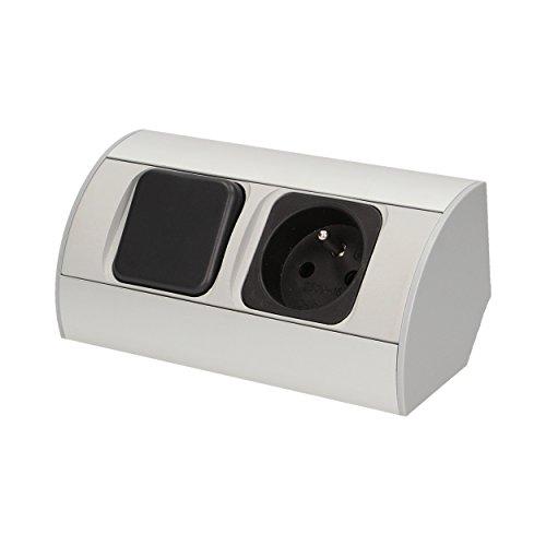 ornontowice (or-1318 AE A + + to a, jeu de lampes LED avec interrupteur et prise pour meuble, Aluminium, 2 watts, Argent, 43,5 x 9 x 5,5 cm