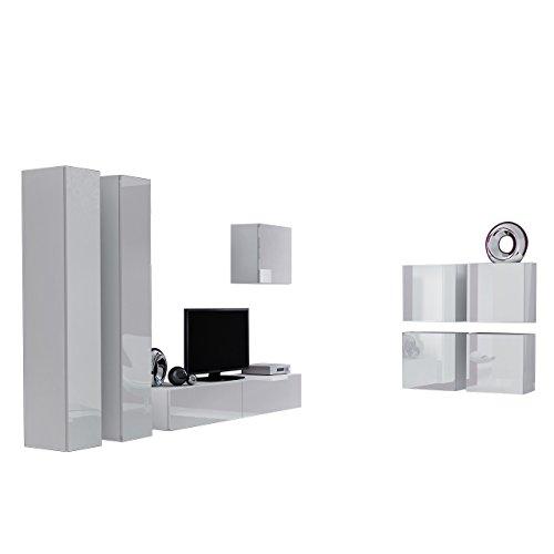 Wohnwand Vigo XXIV, Design Mediawand, Modernes Wohnzimmer Set, Anbauwand, Hängeschrank TV Lowboard, (Weiß/Weiß Hochglanz)