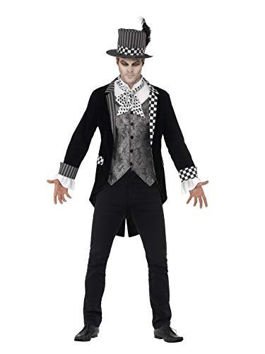 Halloween! Smiffys Deluxe Dunkler Hutmacher Kostüm, Schwarz, mit Jackett, vorgetäuschter Weste & Zylinder