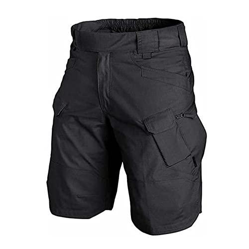 2021 - Pantalones cortos tácticos cargo para hombre, cintura elástica, varios bolsillos, de secado rápido, transpirables, resistentes al agua, para senderismo, escalada, camping, Negro , extra-large,